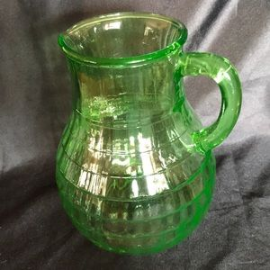 Vintage Green Depression Glass Water Pitcher